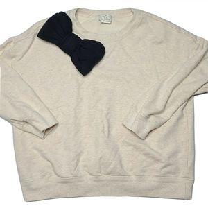 Kate Spade Small Cream Black Oversized Bow Sweater